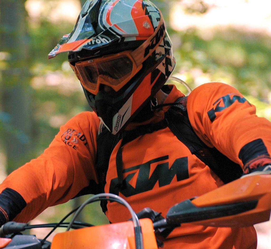 ktm enduro rider in orange suit enduromania brebu nou by popotam productions video agency